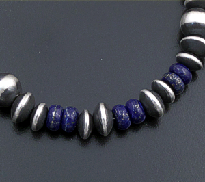 Marilyn Platero (Navajo) - Lapis Lazuli & Mixed Burnished Sterling Silver Bead Bracelet #43329 $150.00