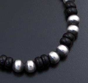 Marilyn Platero (Navajo) - Black Onyx & Burnished Sterling Silver Bead Bracelet #43330 $90.00