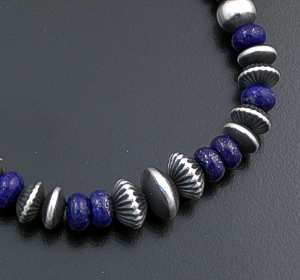 Marilyn Platero (Navajo) - Graduated Lapis & Mixed Burnished Sterling Silver Bead Bracelet 43332 $135.00