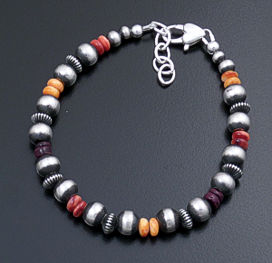 Marilyn Platero (Navajo) - Multistone & Mixed Burnished Sterling Silver Bead Bracelet #43334 $90.00