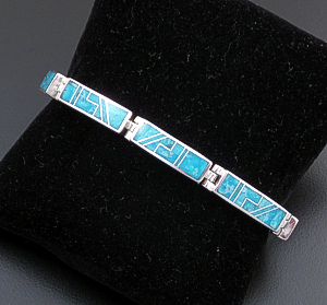Supersmith Inc. - David Rosales Designs (Navajo) - Watermark Turquoise & Sterling Silver Hinged Rectangle Link Bracelet #43372 $660.00