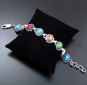 Roie Jaque (Navajo) - Multistone Mixed Bead, Twist, & Cut & File Sterling Silver Link Bracelet #43916 $490.00