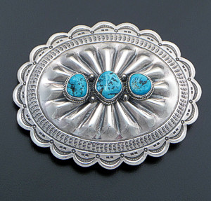 L.T. Chee (Navajo) - Triple Turquoise Stamped & Repoussé Sterling Silver Belt Buckle #39349 $300.00