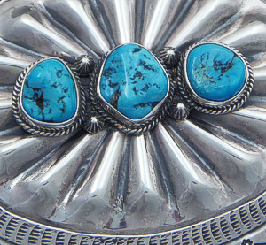 L.T. Chee (Navajo) - Three Stone Turquoise Stamped & Repoussé Sterling Silver Belt Buckle #39349 $300.00