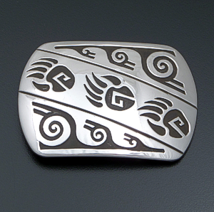 Rosco Scott (Navajo) - Triple Bear Track Rectangular Sterling Silver Belt Buckle #41451 $225.00