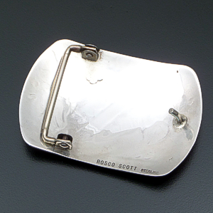 Rosco Scott (Navajo) - Double Bear Track Rectangular Sterling Silver Belt Buckle #41454 $225.00