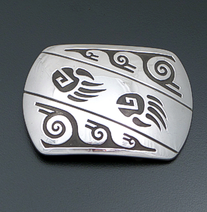 Rosco Scott (Navajo) - Double Bear Track Rectangular Sterling Silver Belt Buckle #41458 $225.00