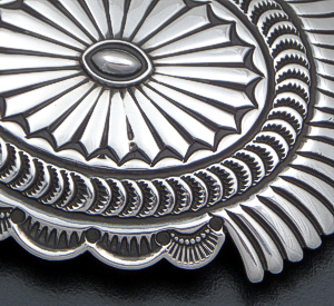Sunshine Reeves (Navajo) - Intricately Stamped Sterling Silver Scallop & Fan Belt Buckle #41730 $390.00
