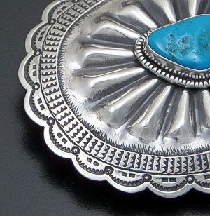 L.T. Chee (Navajo) - Sleeping Beauty Turquoise Stamped & Repoussé Sterling Silver Oval Belt Buckle #41798 $285.00