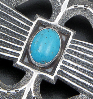 Gary Custer (Navajo) - Five Stone Kingman Turquoise & Sterling Silver Sandcast Belt Buckle #41832 $390.00