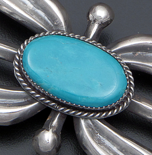 Eugene Mitchell (Navajo) - Four Direction Turquoise & Sterling Silver Sandcast Belt Buckle #41850 $285.00