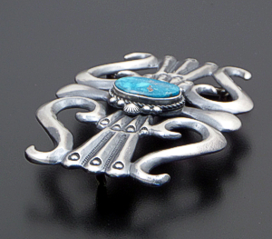 Harrison Bitsuie (Navajo) - Turquoise & Oxidized Sterling Silver Sandcast Belt Buckle #41853 $480.00