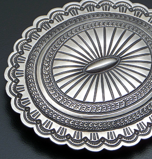 Arnold Blackgoat (Navajo) - Stamped Satin Finished Sterling Silver Oval Belt Buckle #41856 $450.00