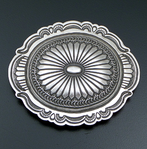 Arnold Blackgoat (Navajo) - Picture Frame Stamped Satin Finished Sterling Silver Oval Belt Buckle #41857 $450.00