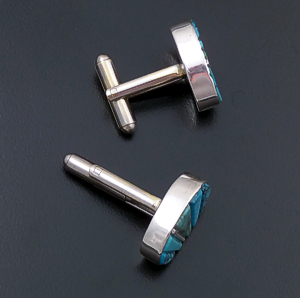 Edison Yazzie (Zuni) - Oval Turquoise & Sterling Silver Cobble Inlay Cuff Links #34584 $125.00
