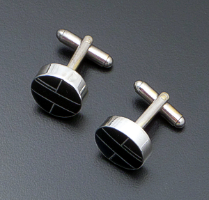 Edison Yazzie (Navajo) - Jet & Sterling Silver Channel Inlay Cuff Links #40699 $120.00