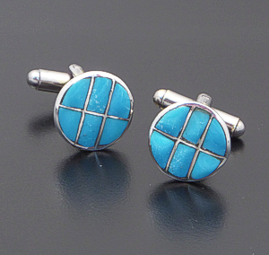 Zuni - Round Turquoise & Sterling Silver Channel Inlay Cuff Links #41247 $70.00