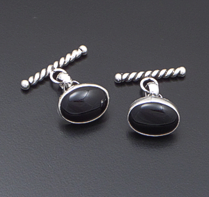Navajo - Oval Black Onyx & Sterling Silver Chain Cuff Links #41340 $90.00
