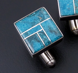 Edison Yazzie (Zuni) - Square Turquoise & Sterling Silver Smooth Channel Inlay Cuff Links #43301 $125.00