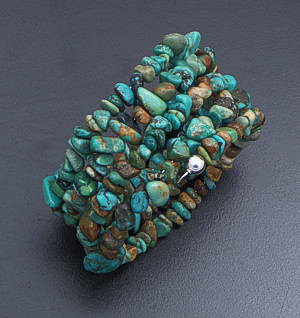 Castle Gap Designs - Turquoise & Sterling Silver Four Row Coil Bracelet #13793 $50.00