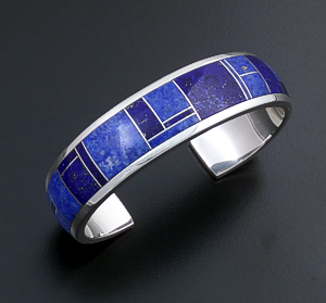 Supersmith Inc. - David Rosales Designs (Navajo) - Blue Water Inlay & Sterling Silver Rounded Full Inlay Cuff Bracelet #108 BR119 $660.00