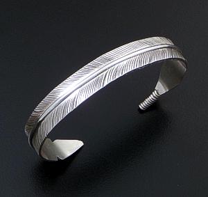 Darlene Begay (Navajo) - Narrow Detailed Sterling Silver Feather Cuff Bracelet #23957 $90.00