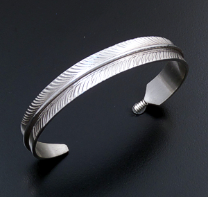 Chris Charley (Navajo) - Intricate Sterling Silver Feather Cuff Bracelet #24230 $100.00