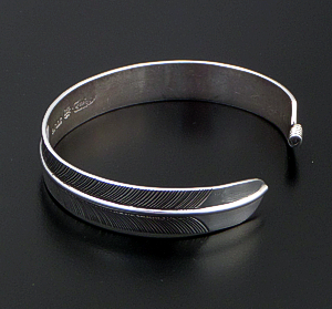 Joe Piasso Jr. (Navajo) - Narrow Detailed Sterling Silver Feather Cuff Bracelet #26219 $145.00