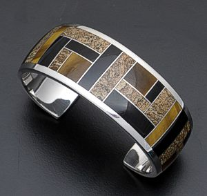 Supersmith Inc. - David Rosales Designs - Native Earth Sterling Silver Wide Inlay Cuff Bracelet #29329 Style BR124 $795.00