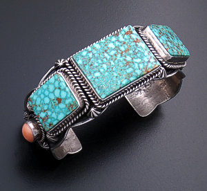 Darryl Becenti (Navajo) - Pilot Mountain Turquoise & Pink Coral Stamped & Scalloped Sterling Silver Cuff Bracelet #33111 $1,350.00