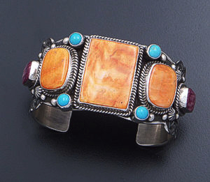 Guy Hoskie - Orange Shell, Turquoise, & Purple Shell Sterling Silver Cuff Bracelet #33155 $1,080.00
