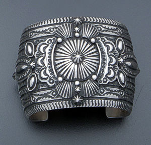 Darryl Becenti - Large Button Stamped & Oxidized Sterling Silver Cuff Bracelet #33728 $1,200.00