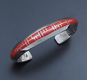 Jerry Nelson (Navajo) - Vintage Smooth Channel Coral Inlay & Sterling Silver Beveled Cuff Bracelet #33889 $600.00