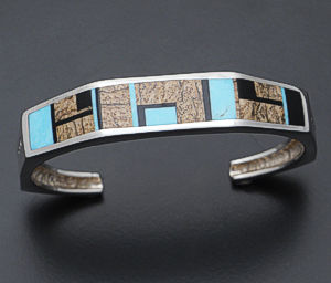 Supersmith Inc. - David Rosales Designs - Turquoise Creek Octagonal Sterling Silver Cuff Bracelet #34577 Style BR406  $535.00