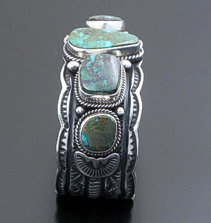 Darrell Cadman (Navajo) - Large Five Stone Turquoise Oxidized, Stamped & Scalloped Sterling Silver Cuff Bracelet #35853 $990.00