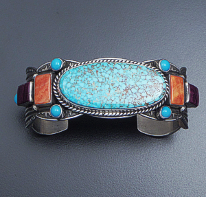 Albert Jake (Navajo) - Eleven Stone Tricolor Lined & Scalloped Sterling Silver Cuff Bracelet #36298 $870.00