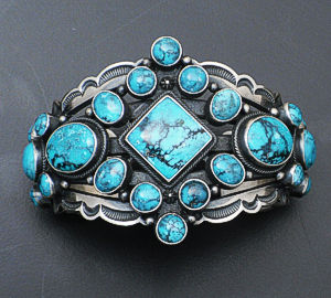 Aaron Toadlena - Chinese Turquoise & Oxidized Open Sterling Silver Cluster Cuff Bracelet #36586 $1,350.00