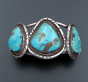 Navajo - Vintage Three Stone Turquoise & Sterling Silver Cut & File Cuff Bracelet #36693 $700.00