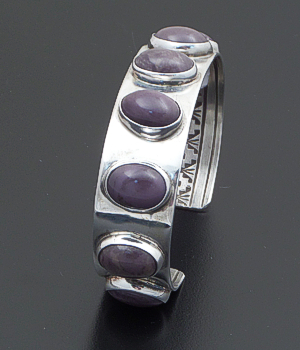 Navajo - Vintage Amethyst Cabochon & Sterling Silver Reverse Stamped Cuff Bracelet #36711B 400.00