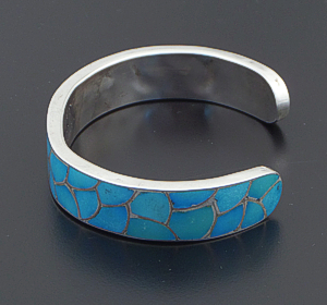 "Carmichael Haloo (Zuni) - Turquoise & Sterling Silver Channel Inlay ""Fish Scale"" Cuff Bracelet #37048 $450.00"
