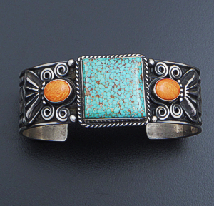 Darrell Cadman (Navajo) - #8 Turquoise & Orange Shell Stamped & Oxidized Sterling Silver Cuff Bracelet #37345 $780.00