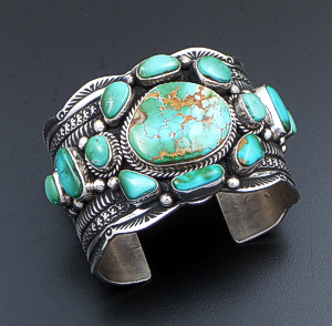 Guy Hoskie (Navajo) - Thirteen Stone Royston Turquoise & Sterling Silver Stamped & Scalloped Cuff Bracelet #37352 $1,800.00