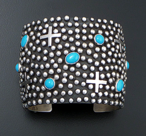 Ronnie Willie (Navajo) - Wide Sleeping Beauty Turquoise & Sterling Silver Beaded Four Corner Cuff Bracelet #37559 $1,050.00