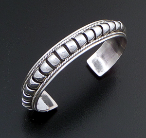 "Priscilla Apache (Navajo) - 1/2"" Wide 5 Row Center Coil Sterling Silver Cuff Bracelet #37989 $195.00"