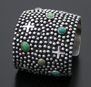 Ronnie Willie (Navajo) - Wide Green Kingman Turquoise & Sterling Silver Beaded Four Corner Cuff Bracelet #38812 $900.00