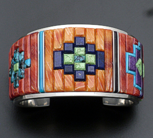 Supersmith Inc. - David Rosales Designs - Indian Summer Fancy Cobble Inlay & Sterling Silver Cuff Bracelet #39033 Style BR125C $1,395.00