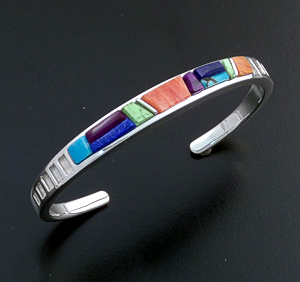Supersmith Inc. - David Rosales Designs - Indian Summer Cobble & Smooth Inlay Narrow Sterling Silver Cuff Bracelet #39386  Style BR011C $300.00