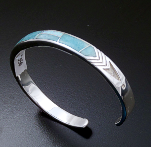 Supersmith Inc. - David Rosales Designs - Amazing Light Inlay & Sterling Silver Stamped Arrow Cuff Bracelet #39387 Style BR014 $350.00