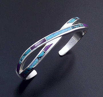 Supersmith Inc. - David Rosales Designs - Shalako Inlay & Sterling Silver Crossed Ribbon Cuff Bracelet #39388  Style BR208 $425.00