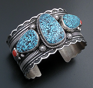 Guy Hoskie (Navajo) - Kingman Turquoise & Red Coral Stamped Sterling Silver Scalloped Edge Cuff Bracelet #39524 $1,200.00